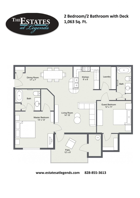 2d - 2 Bedroom 2 Bathroom with Deck