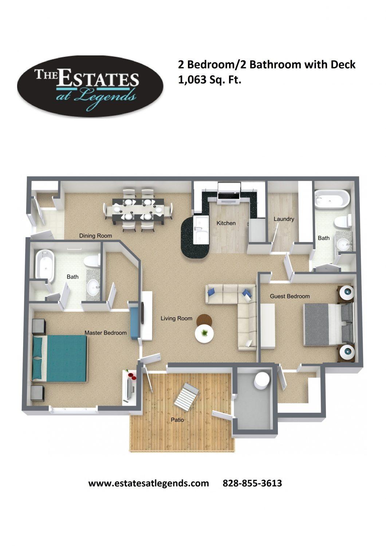 3d - 2 Bedroom 2 Bathroom with Deck
