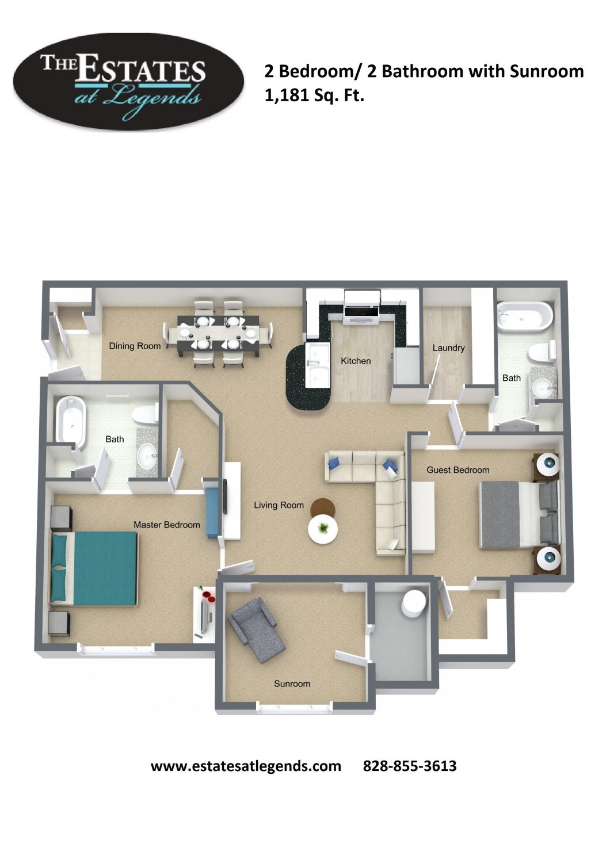 3d - 2 Bedroom 2 Bathroom with Sunroom