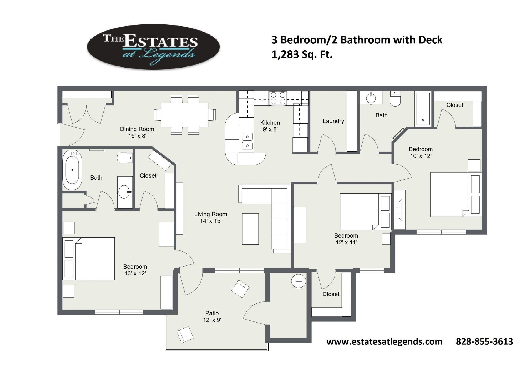 2d - 3 Bedroom 3 Bathroom with Deck