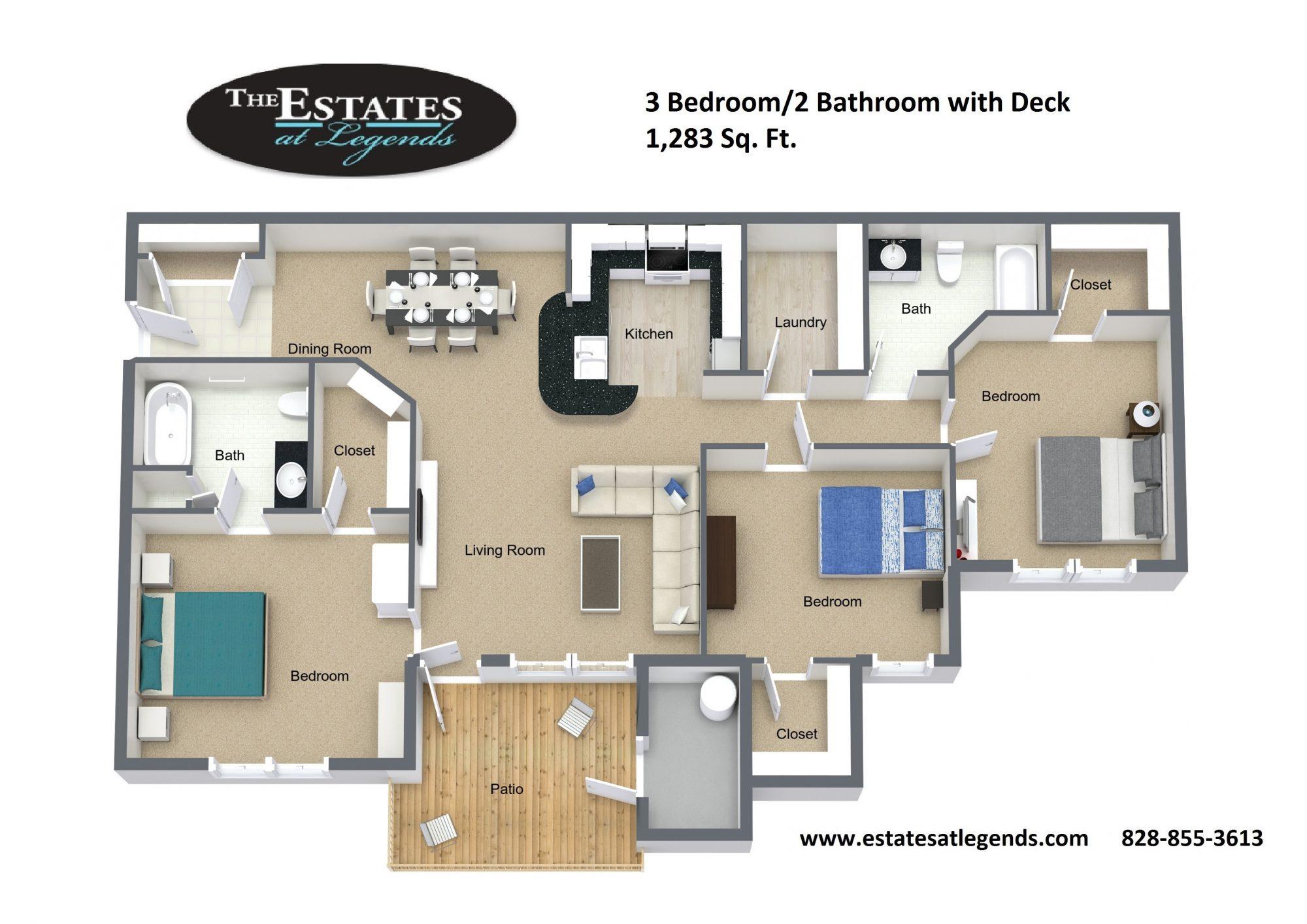 3d - 3 Bedroom 3 Bathroom with Deck