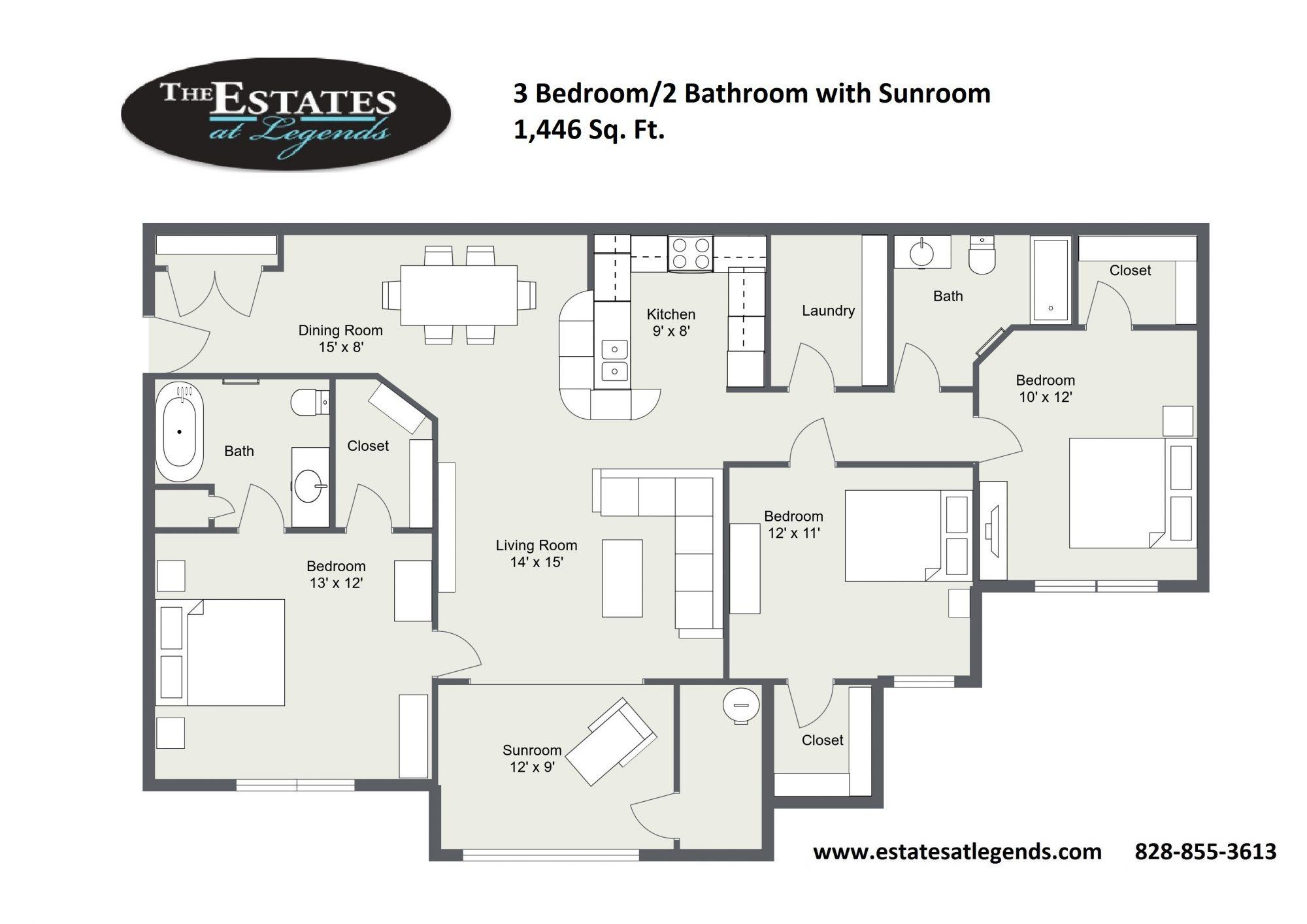 2d - 3 Bedroom 3 Bathroom with Sunroom