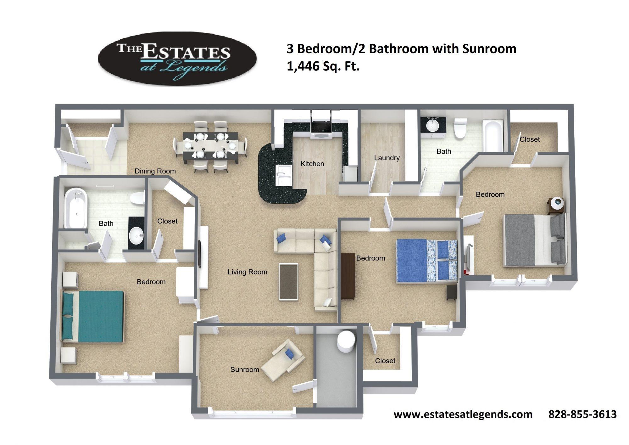 3d - 3 Bedroom 3 Bathroom with Sunroom