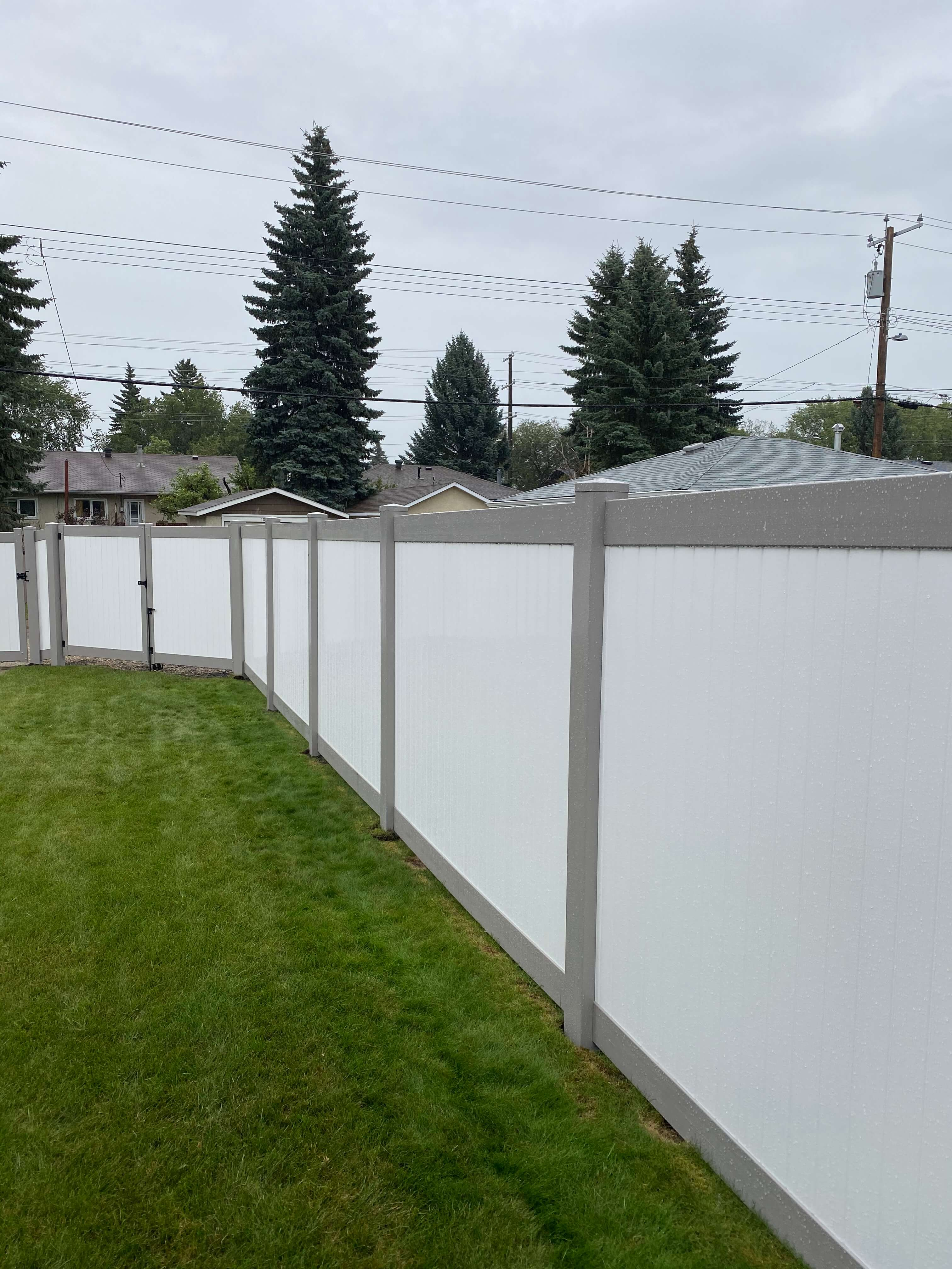 White and Almond vinyl fence