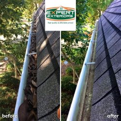 Before and after professional gutter cleaning in Nashville