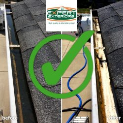 Before and after gutter cleaning service in Nashville
