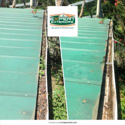 Gutter cleaning for a green metal roof