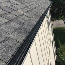 Leaf gutter guard system and asphalt shingle roof