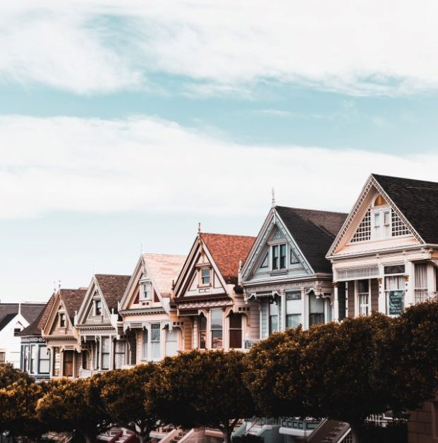 A row of houses lined with trees. Photo by Daniel J. Schwarz on Unsplash.