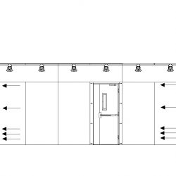 355 Square Foot Extraction Room in Elevation Displaying Air Flow