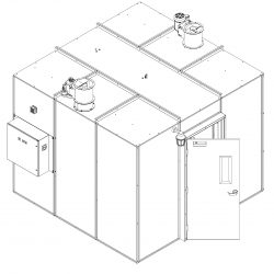 Front End View of 85 Square Foot Extraction Booth in Isometric