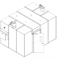 Front End View of 120 Square Foot Extraction Booth in Isometric