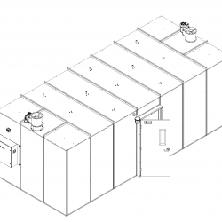 Front End View of 215 Square Foot Extraction Booth in Isometric