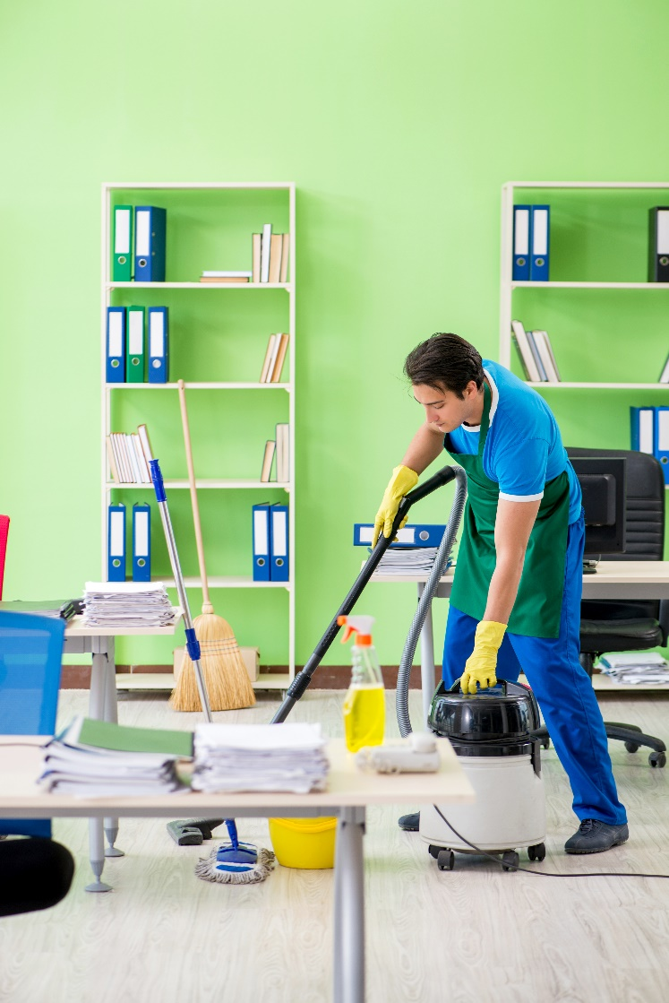 Janitorial cleaning an office