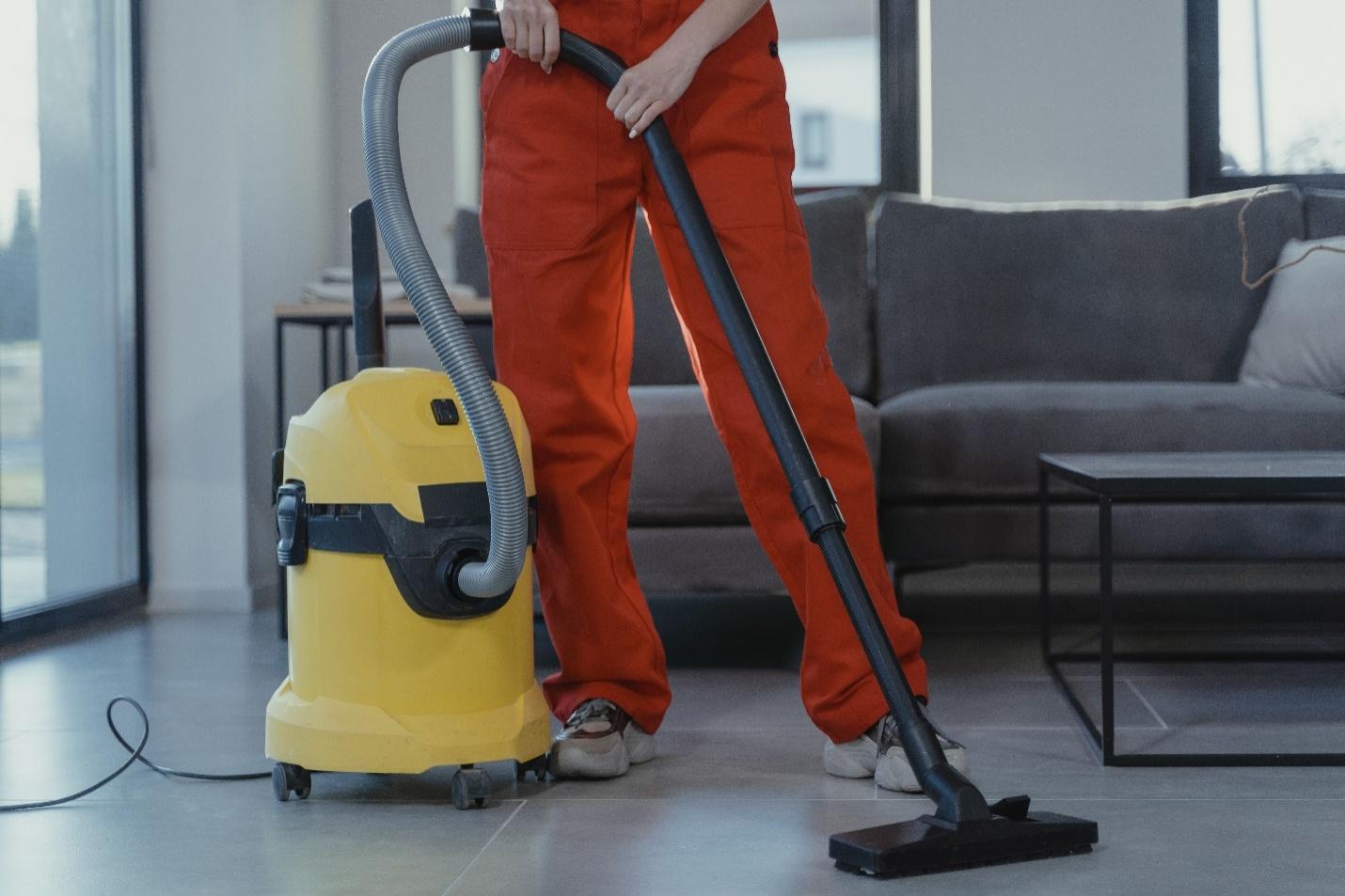 vacuuming tiled floors
