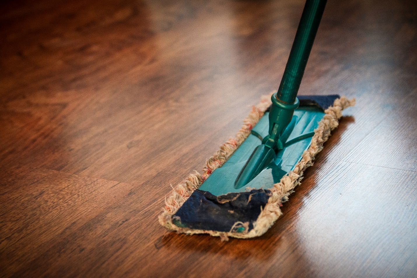 Mopping a wooden floor