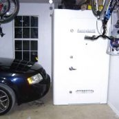 White tornado safe room in a garage
