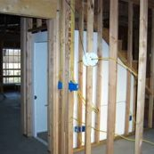 Tornado safe room being installed in a home
