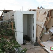 Our tornado shelter standing after a large natural disaster