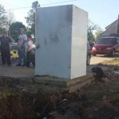 One of our tornado shelters standing after a natural disaster