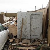 A battered but intact custom storm shelter