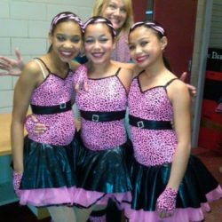 Three girls at dance recital