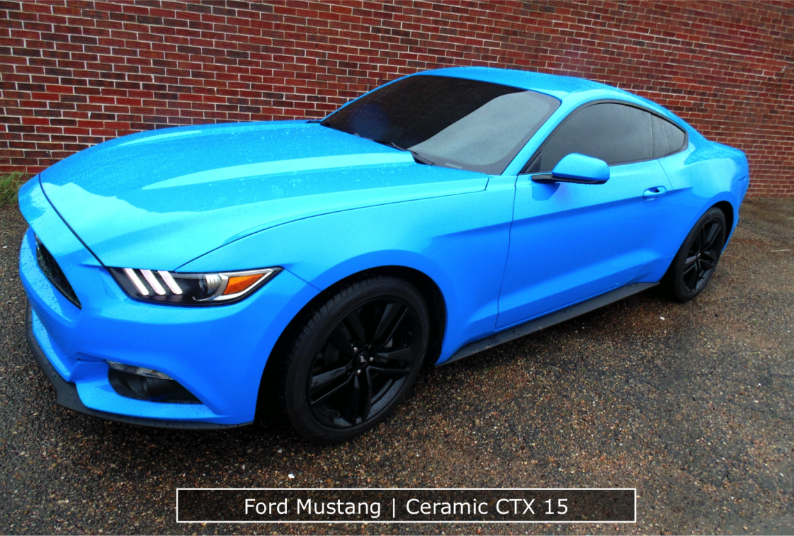 Ceramic Window Tinting On A Blue Mustang