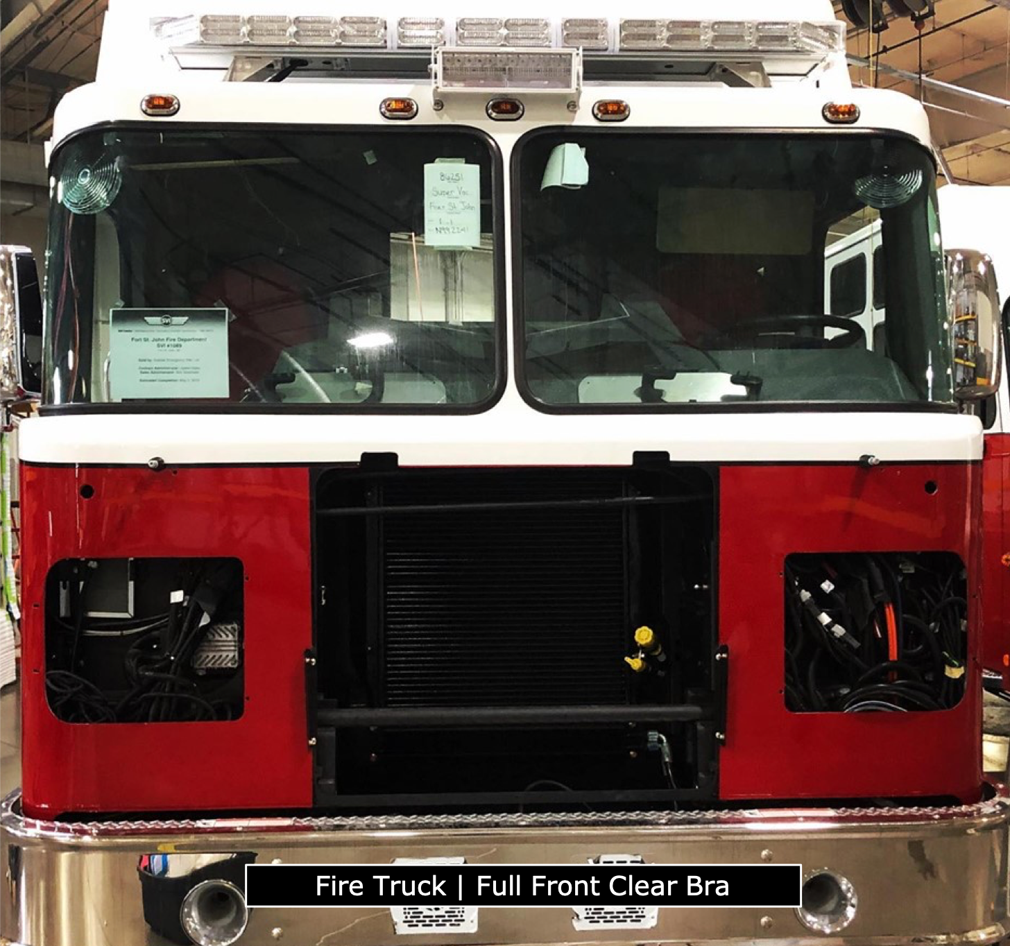 Clear Bra Installed On Front Of Fire Truck