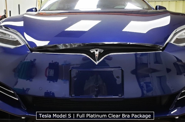 Clear Bra On Bumper Of Tesla