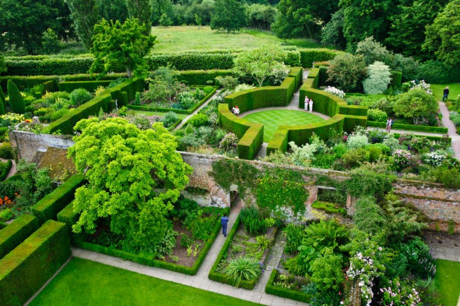 Garden With Trimmed Hedges