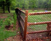 residential wood and chain link fence