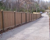 residential wood fence along path