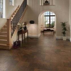 Luxury Copper Colored Vinyl Tile Flooring Installation