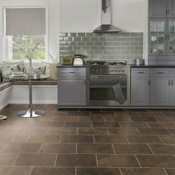 Luxury Brown Vinyl Tile Flooring Installation