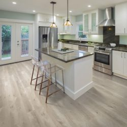 Tan and Light Charcoal Wood Flooring Installation - First Quality Interiors Charlotte