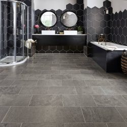 Charcoal Grey Tiling Installation - First Quality Interiors Charlotte