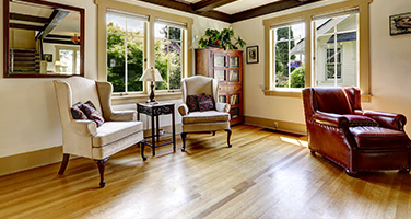 Light Hardwood Flooring in Living Room