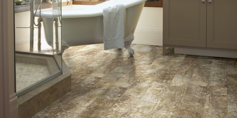 Rustic Laminate Tile Flooring in Bathroom