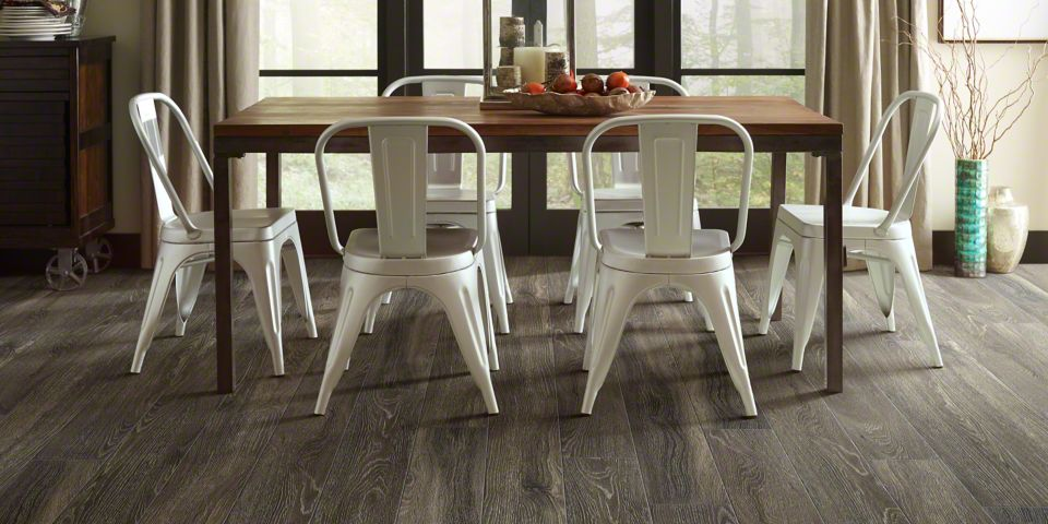 Grey Wood Laminate Flooring in Dining Room