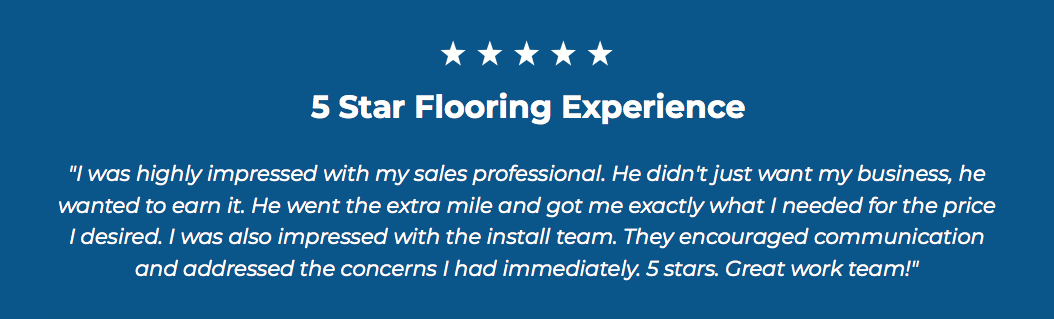 5-Star Flooring Testimonial