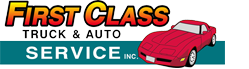 First Class Truck & Auto Service, Inc. Logo with white text small