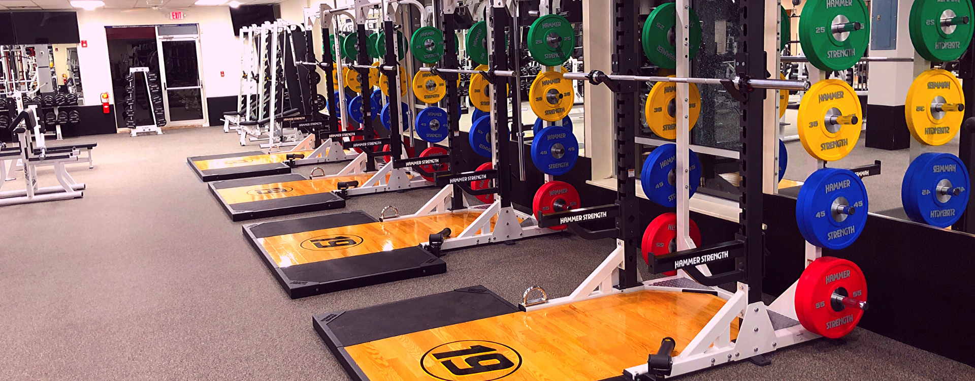 workout at the free weight strength training power racks at the gym