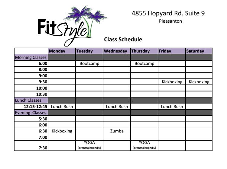 Class Schedule 1