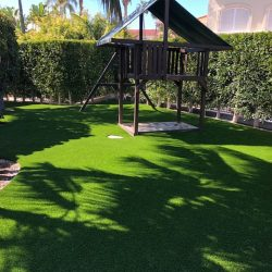 Turf Installed Around Residential Playset - Five Star Turf Commercial