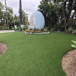 Artificial Grass Installation Surrounding Egg Sculpture - Five Star Turf Commercial