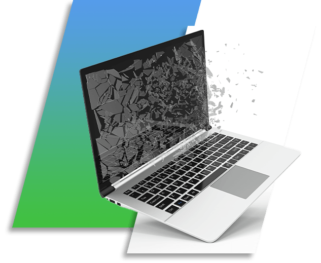 An image of a laptop with a broken screen