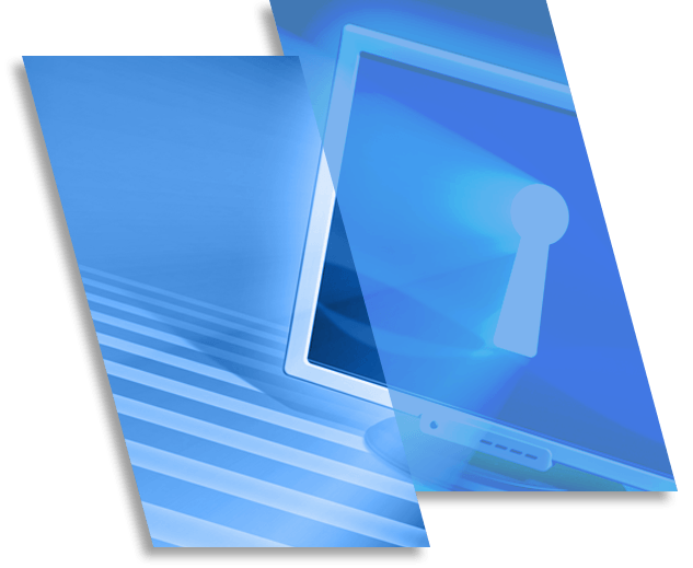 Image of a computer screen with a keyhole