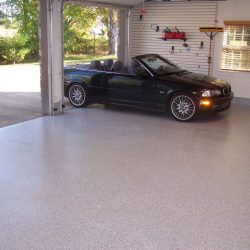 Epoxy garage floor with flakes by FloorEver Solutions