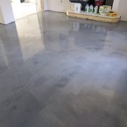 Grey residential metallic epoxy flooring by FloorEver Solutions