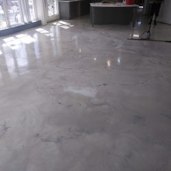 Residential metallic epoxy floors in kitchen and dining
